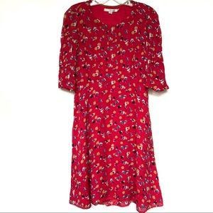 Boden Red Midi Dress Size 6